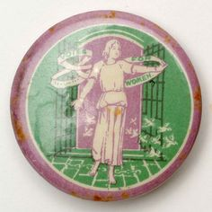 This was one of several badges designed by Sylvia Pankhurst, daughter of WSPU founder, Emmeline Pankhurst. Sylvia Pankhurst contributed much of her art to the movement. Sylvia Pankhurst, Emmeline Pankhurst, Women Suffragette, Suffragette Colours, Deeds Not Words, Suffragette Jewellery, Suffrage Movement, Green Color Schemes, Brave Women