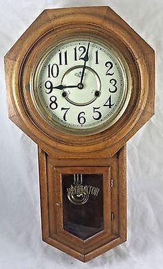Vintage Wall Clock Howard Miller Oak Westminster Chime Key