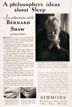 1929 Simmons Beautyrest Mattress original vintage advertisement. With endorsement by legendary novelist, philospher and essayist, Bernard Shaw.