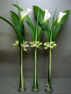 Tall Vase Arrangement# Calla# Green Orchid# Aspidistra Leaves