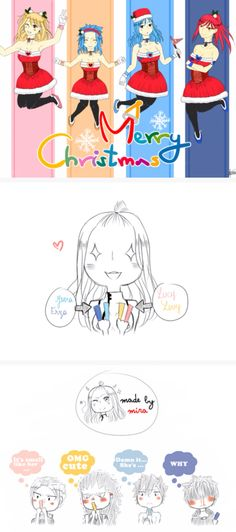 Merry Christmas bookmarks!!!! I think the boys dig it!!! ;)   NaLu & GaLe & Jerza & Gruvia   #Fairy Tail
