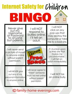 Internet Safety Bingo. Great class activity or take-home Family activity