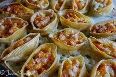 Conchioglini mit Kürbis, Pastinake und Käse-Lauchsauce