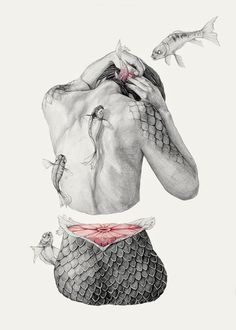 """Koi I"" - Elisa Ancori, pencils {contemporary figurative surreal art female back amputated woman torso flying fish drawing} Art And Illustration, Character Illustration, Mermaid Illustration, Illustrations Posters, Fish Drawings, Art Drawings, Pencil Drawings, Street Art Graffiti, Art Design"