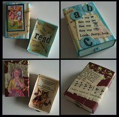 Altered Matchbox By: Inoteboom Altered Cigar Boxes, Altered Tins, Altered Bottles, Altered Art, Tissue Box Crafts, Cardboard Box Crafts, Paper Crafts, Matchbox Crafts, Matchbox Art