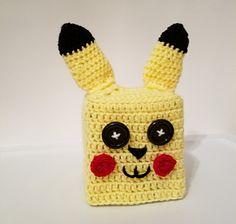 Crochet Pikachu Tissue Box Cozy Cover, Pokemon Go by TampaBayCrochet on Etsy