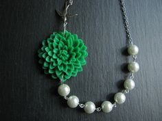 Flower NecklaceGreen NecklaceGreen Pearl by RachelleD on Etsy