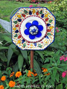 Mexican ceramic plate flower by Garden Whimsies by Mary