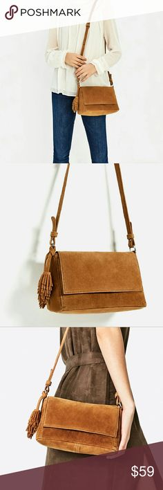 Zara Split Suede Crossbody bag with tassels Brand new with tag attached,  Zara genuine tam leather crossbody. Sold out,  what a wonderful neutral! Zara Bags Crossbody Bags