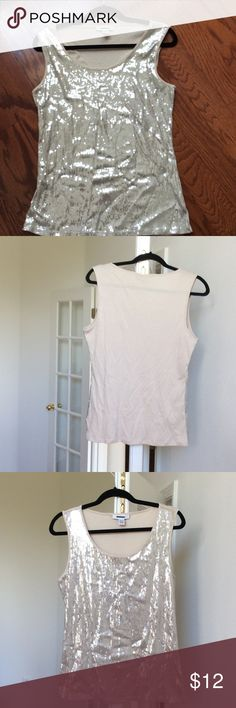 Sequin cotton tee shirt Tan color sequin tee shirt with cotton back. Style & Co Tops Tank Tops
