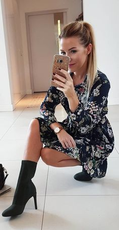 #fall #outfits  women's gray and purple floral dress with black heel boots