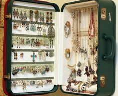 suitcase turned jewelry organizer