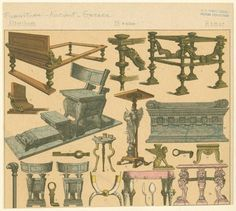 Roman furniture and keys - NYPL Digital Collections Ancient Rome, Ancient Greece, Rome Antique, Medieval Furniture, Rome City, Pompeii And Herculaneum, Roman History, Roman Art, Pompeii