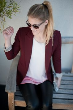 leather jeans and burgundy blazer.  now all I need are leather pants ;)