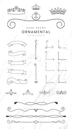 Hand drawn ornamental design elements vector collection | premium image by rawpixel.com / sasi Bullet Journal Writing, Bullet Journal Ideas Pages, Journal Fonts, Book Journal, Heading Design, Frame Border Design, Free Hand Drawing, Borders For Paper, Ornaments Design