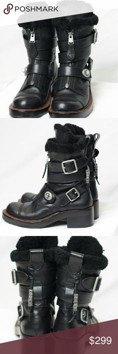 Coach Zip Moto Boots NWOT - Comes with original box and dust bag. Boots show slight wearing on bottom from being tried on in store. Perfect condition! Says size 5.5 - fits size 6 comfortably. Coach Shoes Combat & Moto Boots