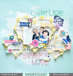 Capture sweet love layout with April Hip Kit Club kits + process video by Flóra Mónika Farkas Scrapbook Sketches, Scrapbook Page Layouts, Scrapbook Albums, Scrapbooking Ideas, Scrapbook Paper Crafts, Scrapbook Cards, Paper Crafting, Hip Kit Club, Scrapbook Storage
