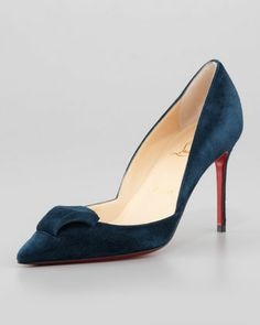 Philaer Suede Red Sole Pump, Blue Kohl  by Christian Louboutin at Neiman Marcus.