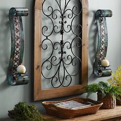 Emery Turquoise Scroll Sconces, Set of 2 Decor, Wrought Iron Design, Kirkland Home Decor, Wall Candles, Candle Sconces Decor, Living Room Candles, Wall Candle Holders, Tuscan Decorating, Iron Wall Decor