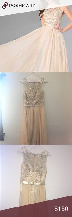 Floor-Length Champagne Prom Dress Ordered from Promgirl.com, this dress is from the brand Dancing Queen and was purchased in a size medium. It has a chiffon and satin skirt with a beaded top and a satin band around the waist. The entirety of the top half is beaded with the area from the chest up, including the sleeves, being mesh. It was bought for 199.00 and has only been worn once. Dresses Prom