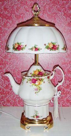 Custom Lamp - Royal Albert Old Country Roses Teapot China Lamp ~ Beccas Treasures
