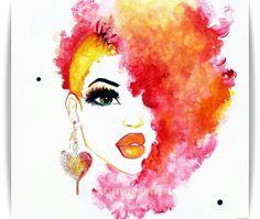 Natural hair art uploaded by [ HER ] on We Heart It Black Girl Art, Black Women Art, Black Art, Art Girl, Art And Illustration, Illustrations, Natural Hair Art, Pelo Natural, Natural Hair Styles