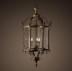 "Restoration Hardware - 19th C. Salerno Streetlight Pendant Bronze $1895 - $2595 Our replica of a 19th-century Italian gas streetlight is true to its Amalfi Coast roots.     3' Pendant: 15"" diam., 36""H; 63 lbs.     4' Pendant: 22"" diam., 48""H; 90 lbs.     Chain: 5'L"