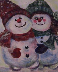 December Painting Project: Make Your Own Holiday and Christmas Cards: Mr and Mrs Frosty by Sandra Cutrer