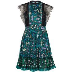 Valentino Printed lace and cotton mini dress (72 440 UAH) ❤ liked on Polyvore featuring dresses, colorful dresses, short colorful dresses, multi-color dress, short dresses and short blue dresses
