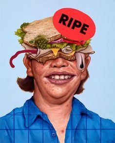 sean norvet, illustration, painting, portrait, food, collage, realism, humor, cartoon, disturbing, upper playground