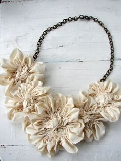 Necklace Natural Cotton Flower Bib Statement Jewelry by AutumnArt!  Would love to rock this on my wedding day! www.shopjewelrybar.com for statement pieces under $25