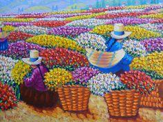 """Mujeres Campesinas """"Recolectoras de Flores"""", Pinturas Modernas del Perú   Imágenes Arte Temático Peruvian Art, Latino Art, South American Art, Plant Magic, Colorista, Mexican Art, Working Woman, Art Pages, Vincent Van Gogh"""