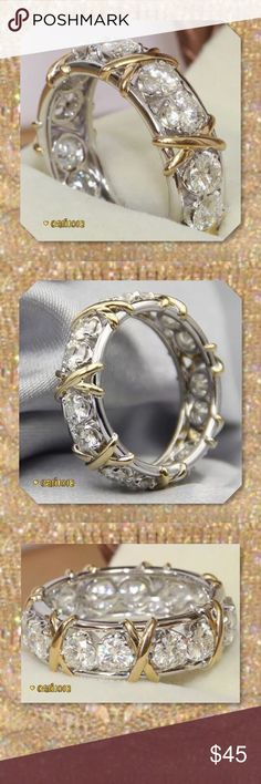 JUST INWhite Sapphire White & Yellow GF Band Material: 925 Silver Main Stone : White Sapphire Main Stone Size: 3mm*3mm Ring Size: 7 Condition: Brand New RING BOX: YES Style: XOXO Wedding Ring Band Gorgeous style Glam Squad 2 You Jewelry Rings