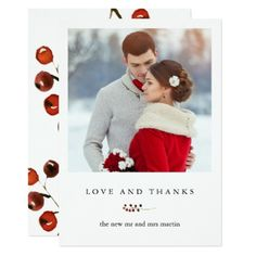 Winter Berries Love and Thanks Photo Card - winter wedding cyo marriage wedding party gift idea