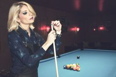 Pool game & black overall. Photos by MS. ĒCLAT Clothing by U de ADOLFO DOMÍNGUEZ Make up by AQUILEA  Accessories by ANELE Location: BANDALAY Lounge Bar, Soria.