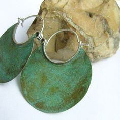 Bronze And Sterling Silver Large Verdigris Hoop Earrings Metalsmith Blue Green Patina Jewelry