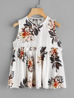 Shop Frill Trim Keyhole Back Florals Blouse online. SheIn offers Frill Trim Keyhole Back Florals Blouse & more to fit your fashionable needs.