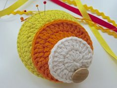 Unstuck Pop Art pincushion   From my book '50 Pincushions to Knit and Crochet'