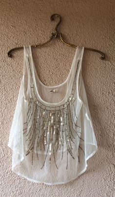 Image of Mesh sheer tulle with beads gypsy Romantic camisole