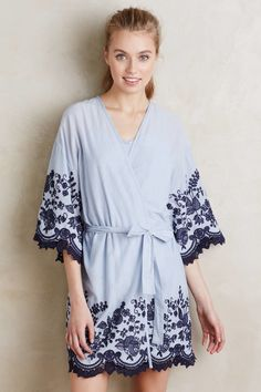 25fc46f3b1 Lyst - Eloise Anastasia Embroidered Robe in Blue Cozy Pajamas