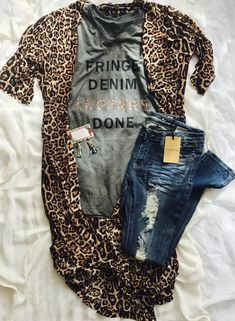 Fringe denim leopard done unisex bella canvas vneck triblend tee Size down for t. - Fringe denim leopard done unisex bella canvas vneck triblend tee Size down for tighter fit listing - Fall Outfits, Casual Outfits, Summer Outfits, Cute Outfits, Black Outfits, Outfit Winter, Look Fashion, Fashion Outfits, Woman Fashion