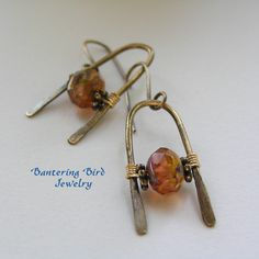 Glass and Brass Earrings, Champagne Color