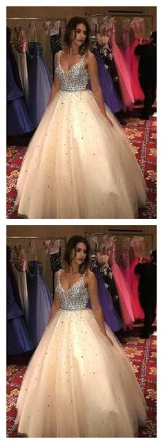 Newly Ball Gown Champagne Tulle V Neck Prom | sparkledress V Neck Prom Dresses, Prom Dresses Online, Formal Dresses, We Can Do It, Wedding Veil, Dress For You, Perfect Fit, Ball Gowns, Champagne