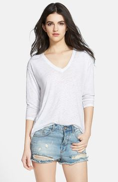 Leith Three Quarter Sleeve V-Neck Tee available at #Nordstrom