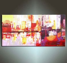 Abstract Painting, 48''  ORIGINAL Palette Knife Fine Art Painting Ideal For Your Sofe Abstract Ready to Hang 48''x24'' on Etsy, $333.37 CAD