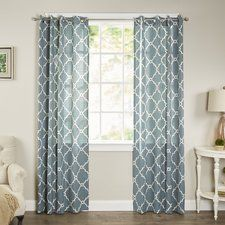 Winnett Geometric Semi-Sheer Grommet Single Curtain Panel