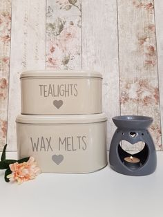 Cute personalised tea lights and wax melts which is perfect for storage whilst still looking stylish on display x It is for the small, for the large tin. Or for the set x Dog Photo Frames, Sweet Jars, Dog Treat Jar, Small Tins, Personalised Frames, Jar Gifts, Etsy Uk, Wax Melts, Home Gifts