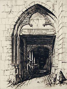 Samuel Chamberlain (1895-1975) - The Mason's House, Senlis, 1930 (Drypoint)