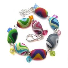 Rainbow Polymer Clay Bracelet by *fairy-cakes on deviantART