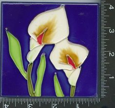 "Decorative Tiles , , 5 , WHITE CALLA TULIP , TILES, about, 4"" X 4"" X .25"", 10cmX10cm., HAND PAINTED, by ASTRODEALS, http://www.amazon.com/dp/B005GQZ5PS/ref=cm_sw_r_pi_dp_V3aTqb0C66BE5"